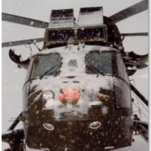 Helicopter covered with ice