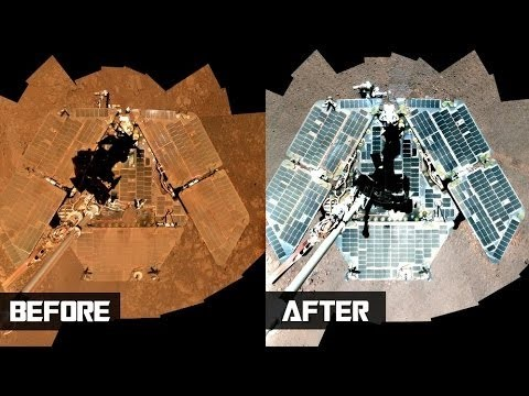 Figure 3 Opportunity rover before and after dusting off its solar panels