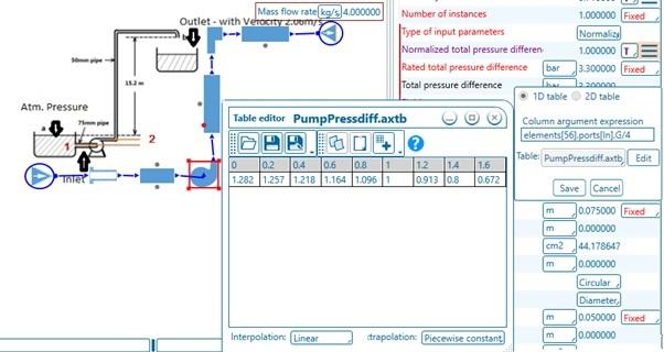 Setting Pump Characteristic data in AxSTREAM NET