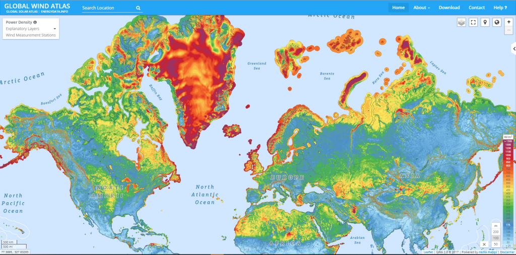 Wind power potential across the Northern hemisphere at one m altitude