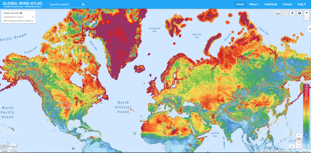Wind power potential across the Northern hemisphere at two m altitude