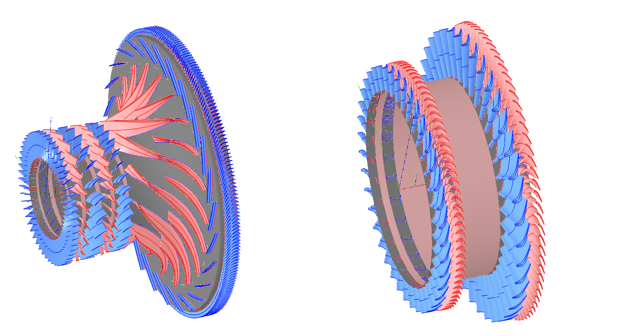 Compressor, compressor turbine and free turbine flow paths designed in AxSTREAM