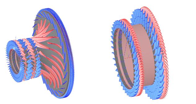 Compressor, compressor turbine and free turbine flow paths designed in AxSTREAM
