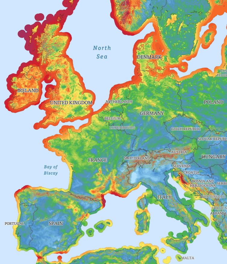 Wind potential in Western Europe