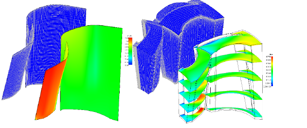 Axisymmetric mesh and pressure scene - 3D HO mesh and Mach contours span-wise scenes