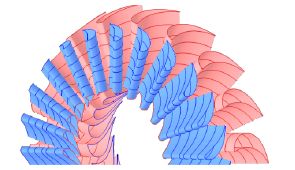 Stator (blue) and rotor (red) view of the turbine