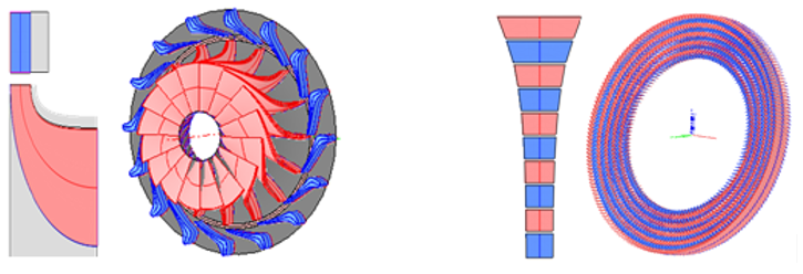 Radial-inflow turbine on the left; Radial-outflow turbine on the right