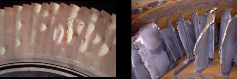 Figure 3 Steam turbine blading with mechanical damage