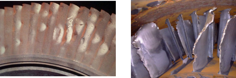 Figure 3 Steam turbine blading with mechanical damage