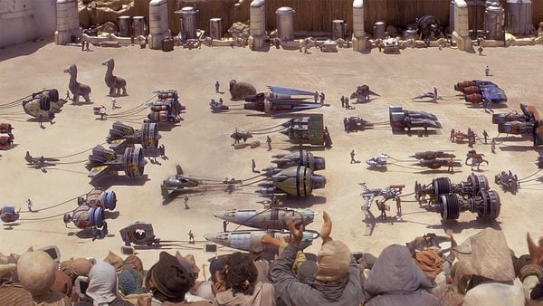 Figure 1 Pilots and their Repulsorcrafts at the Start of the Boonta Even Classic Race on Tatooine