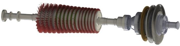 A 3D model of a gas turbine rotor train