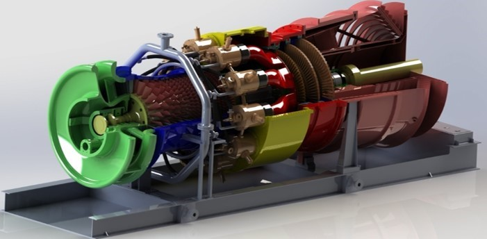 A 3D model of a gas turbine