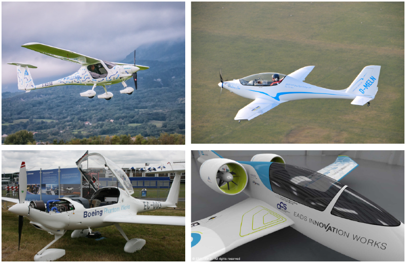 Figure 2 Examples of all-electric-powered general aviation aircraft