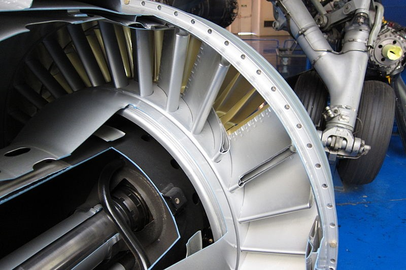 Figure 3: Turbine inlet guide vanes of Atar turbojet with visible cutaway of cooling passages