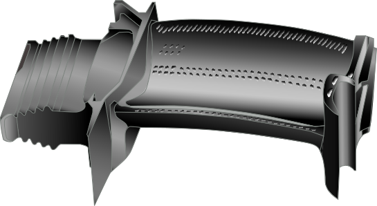 Figure 4: Turbine blade with cooling holes for film cooling