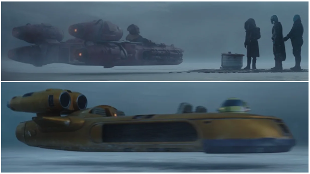 Older (top) vs. newer (bottom) landspeeders depicted as part of ride sharing system in The Mandalorian