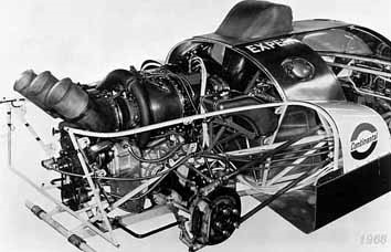 The TX's secret to success, a turbine engine fitted with a wastegate, mounted on a space frame chassis.
