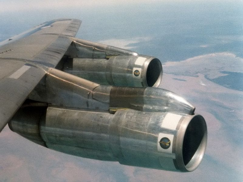 A Boeing 707 powered by 4 P&W JT3D engines, image courtesy of Al Nelowkin