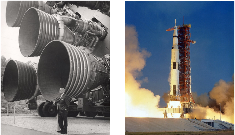 Werner von Braun with the Rocketdyne F1's on a Saturn V rocket, and on the right, Apollo 11 taking off for its mission with 5 F1's at full blast.