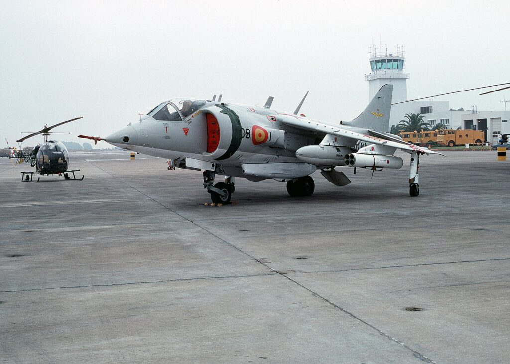 A Hawker Siddeley Harrier in service with Spain