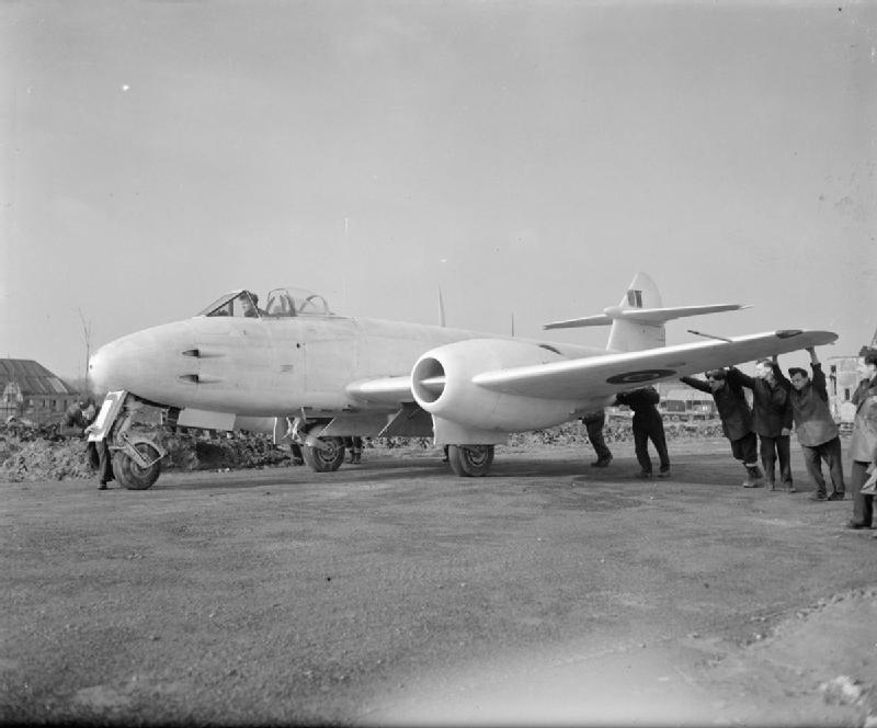The Gloster Meteor, powered by the Power Jets W.2, the first jet engine designed by Whittle for mass production