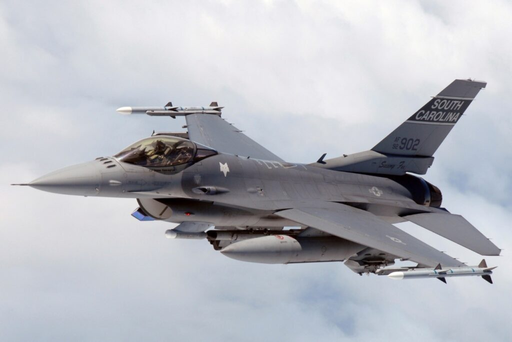 A General Dynamics F16 Fighting Falcon in flight, flying as part of the South Carolina Air National Guard