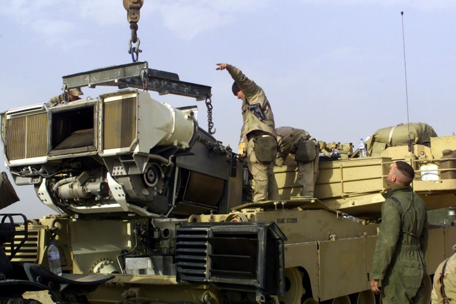 Reinstalling an AGT-1500 into an Abrams in Camp Coyote, Kuwait.