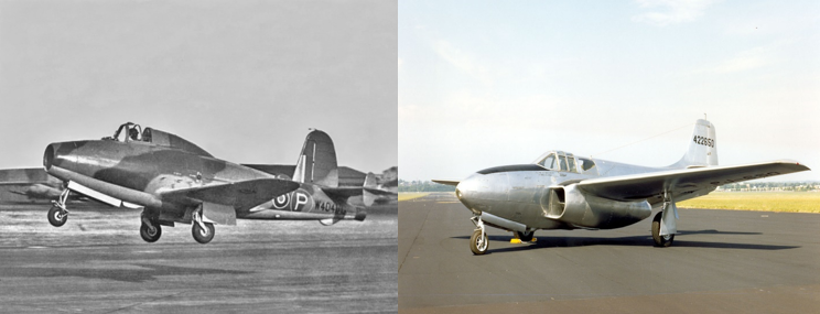The Gloster E28/39 and the Bell P-59 both powered by different variants of the original Power Jets W.1