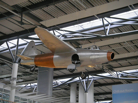 A replica of the Heinkel He 178, powered by Hans von Ohain's HeS 3B.
