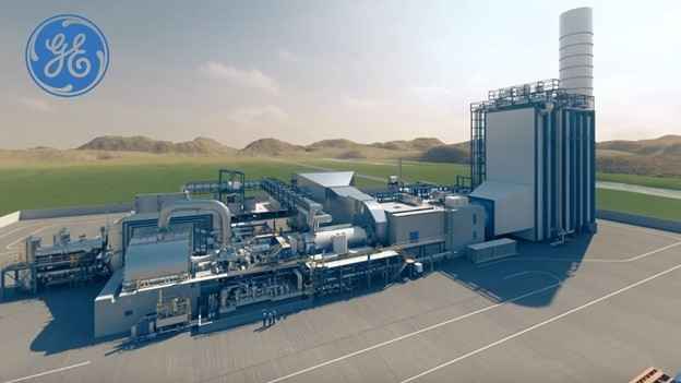 An animated exterior of a combined cycle power plant, image courtesy of General Electric