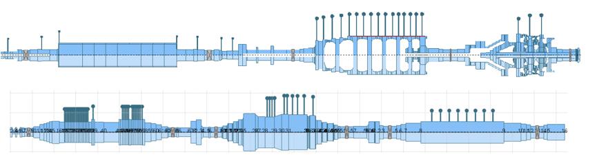 Separate Gas Turbine and Steam Turbine Rotors