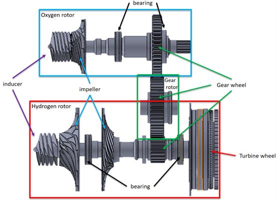 Fig. 1 - Internally geared turbopump model