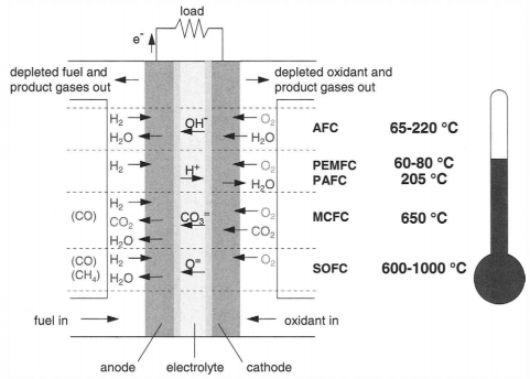 Figure 3 Types of Fuel Cells and their Operating Temperatures